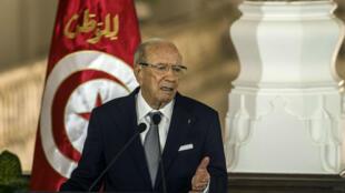 Le président tunisien Béji Caïd Essebsi lors d'une conférence de presse en Égypte, le 4 octobre 2015.