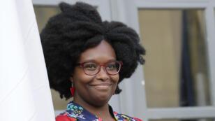 Sibeth Ndiaye, le 1er avril 2019, à Paris, lors de la passation de pouvoir.