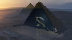 Cette vue 3D de la pyramide de Kheops montre en pointillés la cavité découverte par les scientifiques.