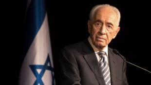 Shimon Peres, alors président d'Israël, le 6 juillet 2014, à Sderot.