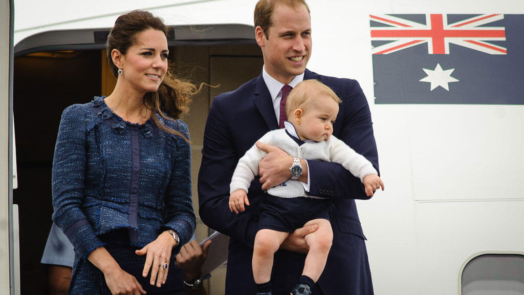 Le duc et la duchesse de Cambridge et leur fils George lors de leur visite en Australie en avril 2014.