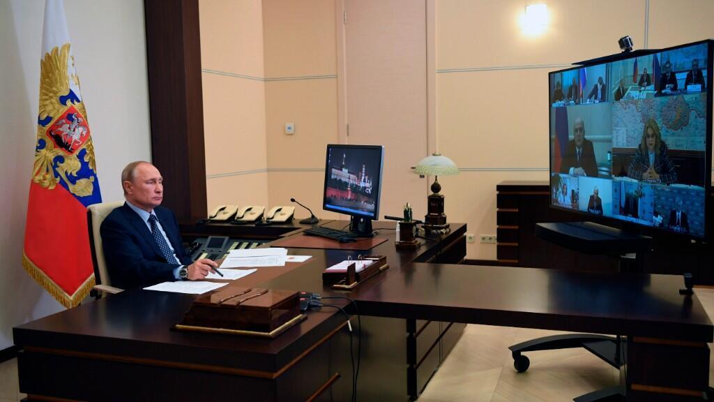 El presidente Vladímir Putin durante la videoconferencia ministerial del viernes, 22 de mayo, en Moscú.