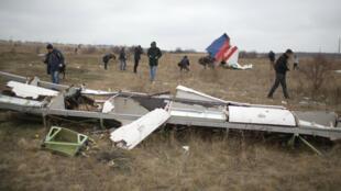 Des journalistes parmi les débris du vol MH17, le 11 novembre 2014.