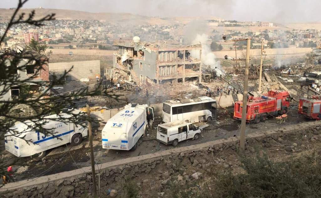 Le QG de la police à Cizre après l'attentat du 26 août 2016.