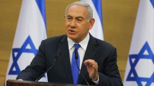 El primer ministro israelí, Benjamin Netanyahu, habla en la Knéset (Parlamento israelí) en Jerusalén el 27 de mayo de 2019.