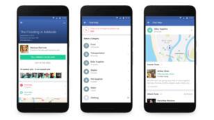 Captures d'écran de la fonctionnalité Community Help du Safety Check de Facebook.