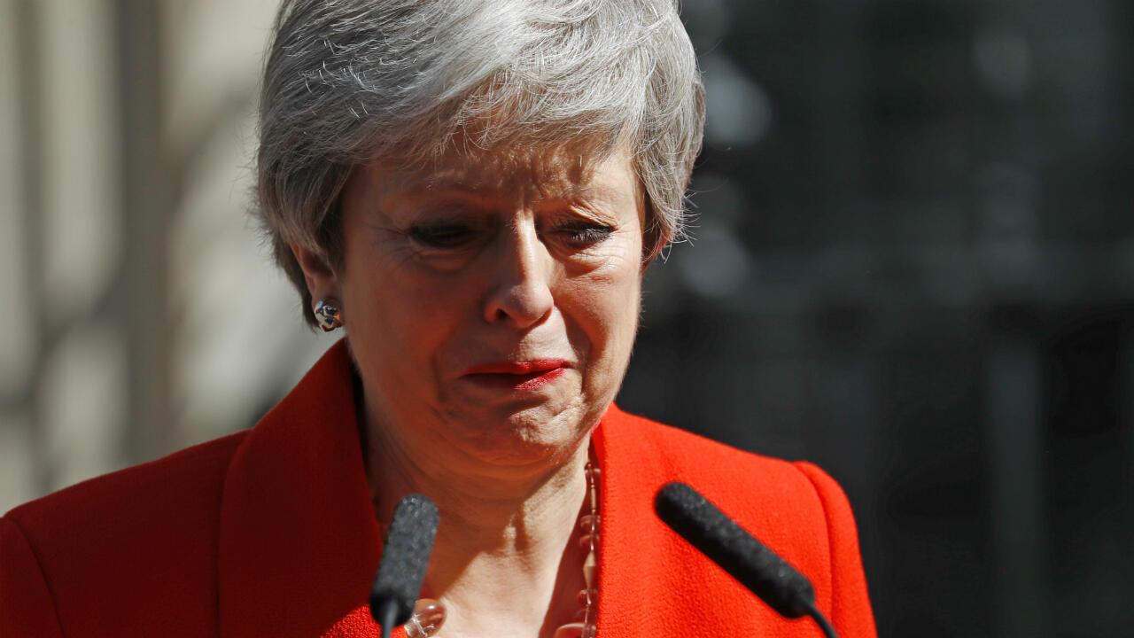 La Première ministre britannique, Theresa May, annonçant sa démission, vendredi 24 mai.