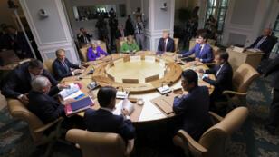 قادة مجموعة السبع في اجتماع . كيبيك ، كندا ، 8 يونيو/حزيران 2018