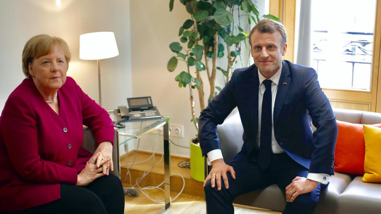Emmanuel Macron et Angela Merkel lors d'un sommet informel, le 28 mai 2019, à Bruxelles.