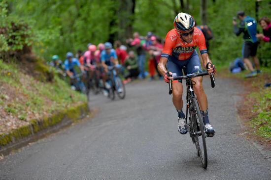 Vincenzo Nibali lors de la 16e étape du Tour d'Italie 2019. Il terminera quatrième.