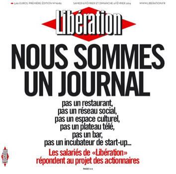 Libération's front page from Saturday, February 8th