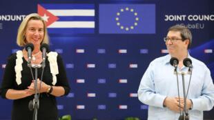 La jefa de la diplomacia Europea, Federica Mogherini, habla durante una conferencia de prensa conjunta con el Ministro de Relaciones Exteriores de Cuba, Bruno Rodríguez, en La Habana, Cuba, el 9 de septiembre de 2019