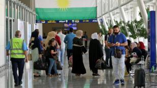 L'aéroport d'Erbil, la capitale du Kurdistan irakien, quelques heures avant l'arrêt des vols internationaux.