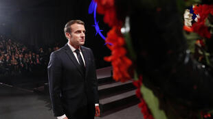 French President Emmanuel Macron takes part in a wreath-laying ceremony during the Fifth World Holocaust Forum at the Yad Vashem World Holocaust Remembrance Center in Jerusalem on January 23, 2020.
