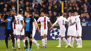 Soccer Football - Champions League - Group A - Club Brugge v Paris St Germain - Jan Breydel Stadium, Bruges, Belgium - October 22, 2019 Paris St Germain's Mauro Icardi celebrates scoring their first goal with Marco Verratti and team mates.