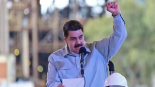 El presidente de Venezuela , Nicolás Maduro, durante una reunión con los trabajadores del Complejo Siderúrgico de Guayana en Ciudad Guayana, Venezuela , 6 de marzo de 2019.