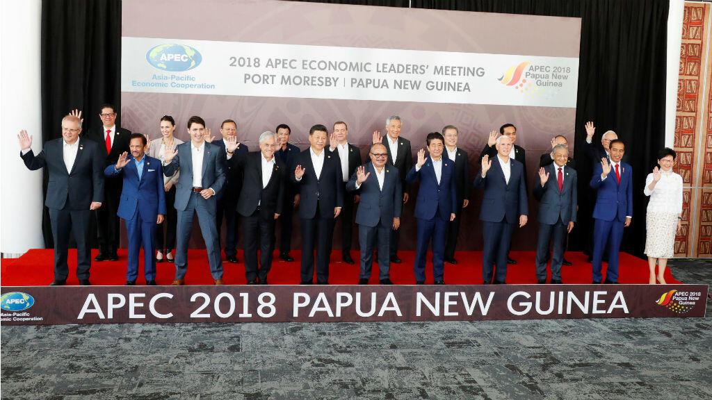 Les dirigeants de l'Apec à l'ouverture du sommet le 18 novembre avant les passes d'armes entre la Chine et les États-Unis.