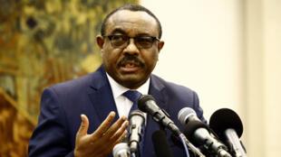 Le Premier ministre éthiopien démissionaire Haïlemariam Desalegn, lors d'une conférence de presse en août 2017.