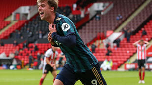 Leeds striker Patrick Bamford celebrates after scoring against Sheffield United