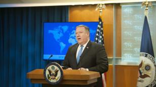 Le secrétaire d'État américain Mike Pompeo lors d'une conférence de presse à Washington le 16 août 2018.