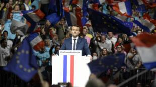 Emmanuel Macron, le 4 février 2017, lors d'un meeting à Lyon durant la campagne présidentielle.