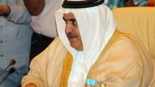 وزير خارجية البحرين الشيخ خالد بن أحمد بن محمد آل خليفة في الدوحة في 17 نيسان/أبريل 2012