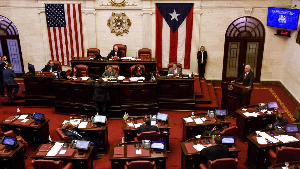 Thomas Rivera Schatz, presidente del Senado de Puerto Rico, pronuncia un discurso durante una sesión especial de la Asamblea Legislativa, convocada por el gobernador saliente, Ricardo Rosselló, un día antes de su dimisión. San Juan, Puerto Rico, el 1 de agosto de 2019.
