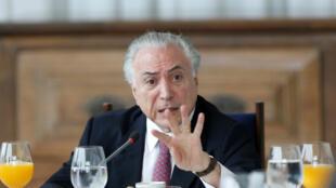 L'ancien président brésilien Michel Temer au palais de l'Alvorada à Brasilia, le 6décembre2018.