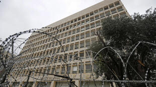 Barbed wire blocks the vicinity of Lebanon's central bank building in the capital Beirut on March 6, 2020. The country is in the midst of its worst economic crisis in decades