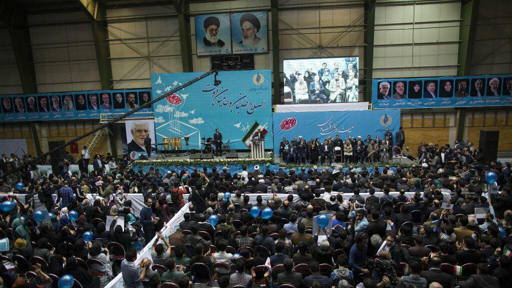 Le candidat réformateur Mohammad Reza-Aref lors d'un meeting à Téhéran, le 20 février 2016.
