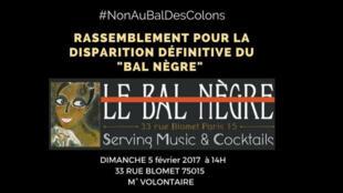 """Appel à manifester contre """"Le Bal nègre"""" le dimanche 5 février."""