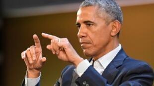 الرئيس الأمريكي السابق باراك أوباما في ميلانو الثلاثاء 9 أيار/مايو 2017