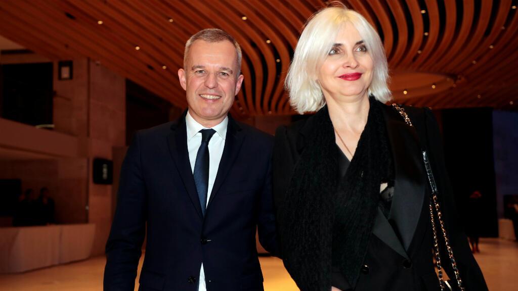 Foto de archivo del ministro de Ecología de Francia, Francois de Rug, y su esposa, Severine Servat, en la 34ª cena anual del Consejo Representativo de las Instituciones Judías de Francia, el 20 de febrero de 2019, en el Louvre Carrousel en París.