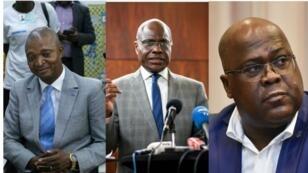 De izquierda a derecha, los candidatos Emmanuel Ramazani Shadary (delfín de Joseph Kabila), Martin Fayulu (opositor) y Félix Tshisekedi (nombrado presidente electo).
