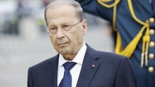 الرئيس اللبناني ميشال عون في باريس أواخر أيلول/سبتمبر 2017