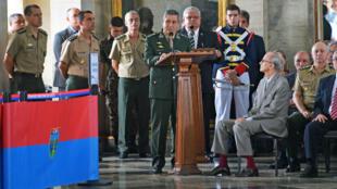 El comandante militar de Brasil, Walter Souza Braga Netto, habla durante una ceremonia en el Palacio Duque de Caxias en Río de Janeiro, Brasil, para marcar el fin de la intervención federal y militar para la seguridad pública en la ciudad, el 27 de diciembre de 2018.