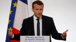 El Presidente Emmanuel Macron pronunció un discurso sobre la seguridad nacional, el 18 de octubre de 2018