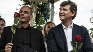 L'ancien ministre grec des Finances Yanis Varoufakis a participé le 23 août 2015 à la fête de la rose organsiée tous les ans par Arnaud Montebourg à Frangy-en-Bresse.