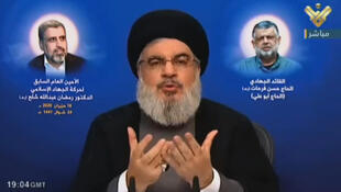 Hassan Nasrallah, the head of Lebanon's powerful Shiite Muslim movement Hezbollah, condemns new US sanctions against the Syrian government, in a televised address