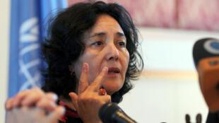 Leila Zerrougui, alors représentante de l'ONU pour les enfants et les conflits armés, lors d'une conférence de presse à Sanaa, le 28 novembre 2012.