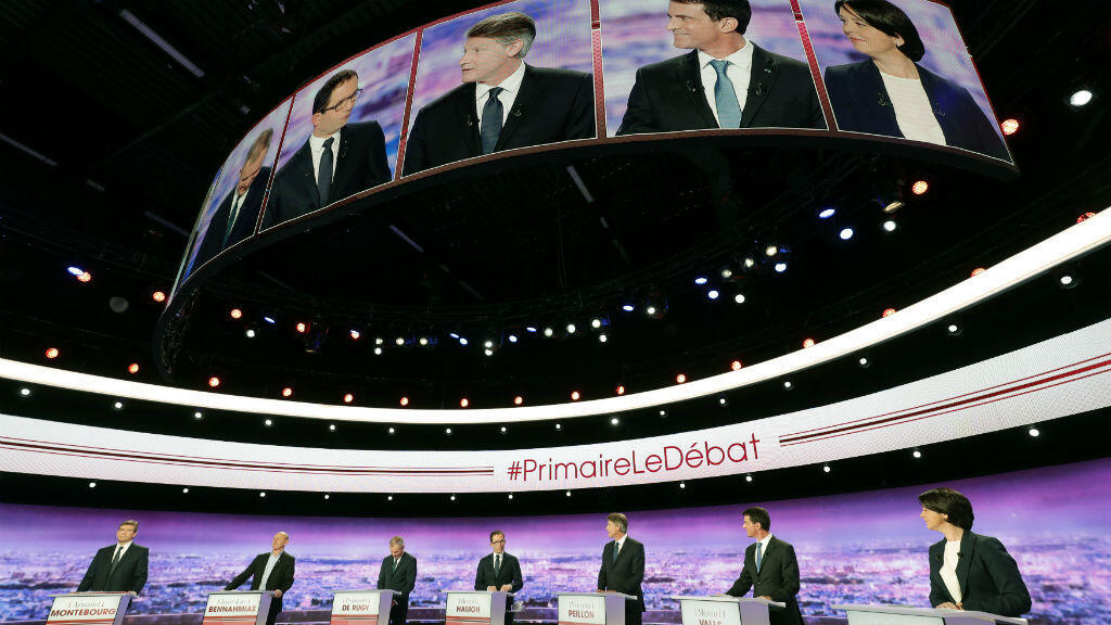Les candidats à la primaire citoyenne, lors du deuxième débat, le 15 janvier 2017.