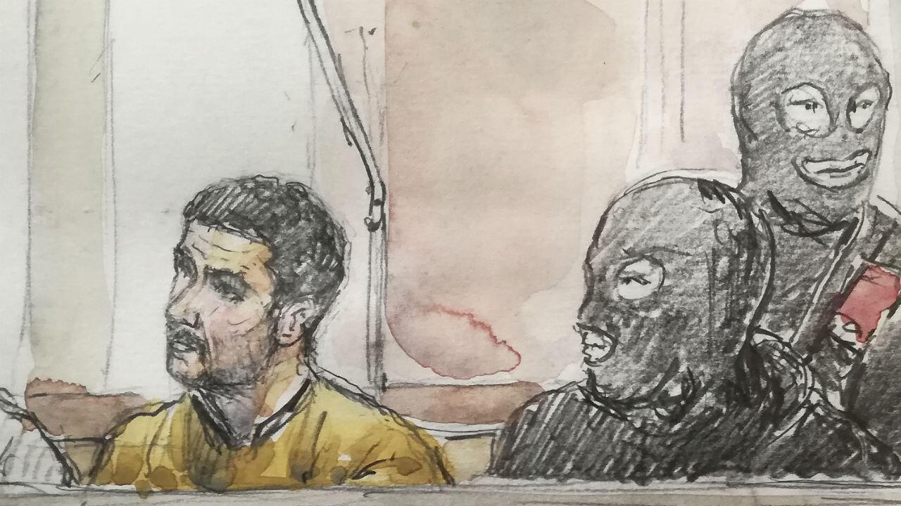 Mehdi Nemmouche lors de l'ouverture de son procès aux assises de Bruxelles, le 10janvier2019.
