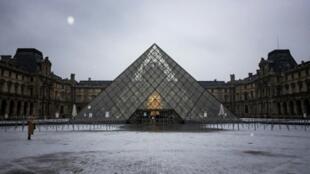 La pyramide du Louvre, le 22 janvier 2019 à Paris