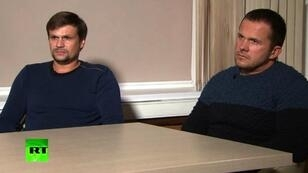 Los dos sospechosos rusos del caso Skripal durante una entrevista con RT el 13 de septiembre.