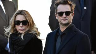 David Hallyday et Laura Smet lors des funérailles de leur père Johnny Hallyday à La Madeleine, le 9 décembre 2017 à Paris