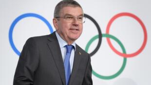 Le patron de la famille olympique Thomas Bach au siège du CIO à Lausanne, le 5 décembre 2019