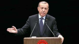 Le président turc Erdogan lors d'une rencontre avec des enseignants, le jeudi 24 novembre, à Ankara.