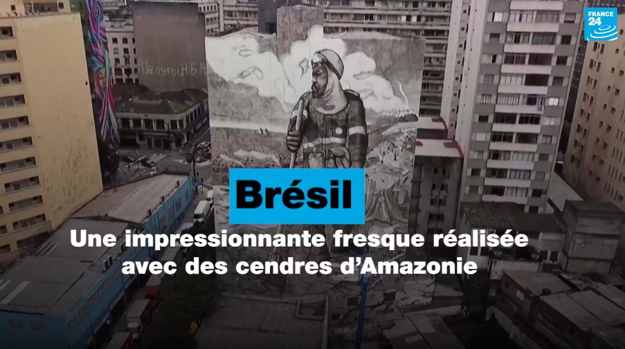 Brésil : une impressionnante fresque réalisée avec des cendres d'Amazonie