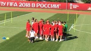 تدريبات منتخب المغرب على ملعب فارونيش استعدادا للمواجهة المصيرية أمام البرتغال 18 حزيران/يونيو 2018.