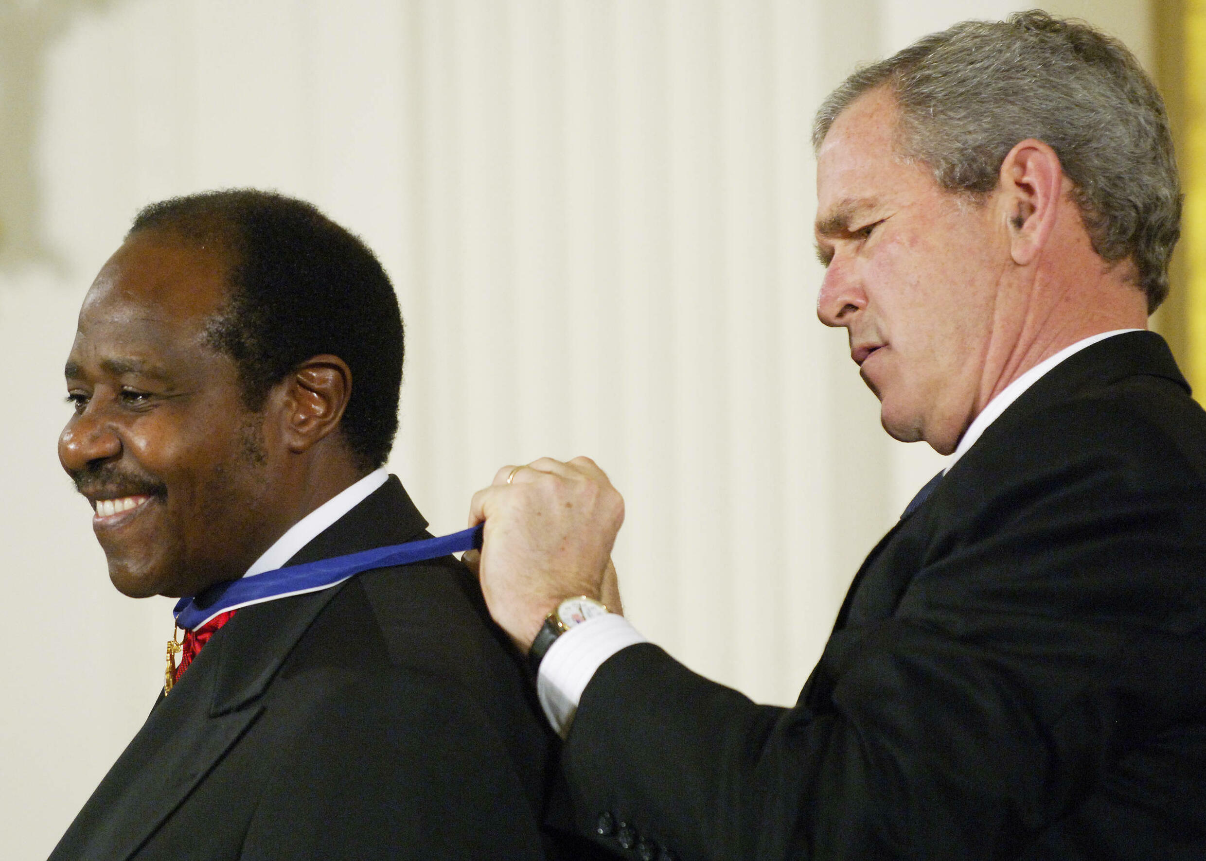 Rusesabagina received the Presidential Medal of Freedom from US President George W. Bush in 2005